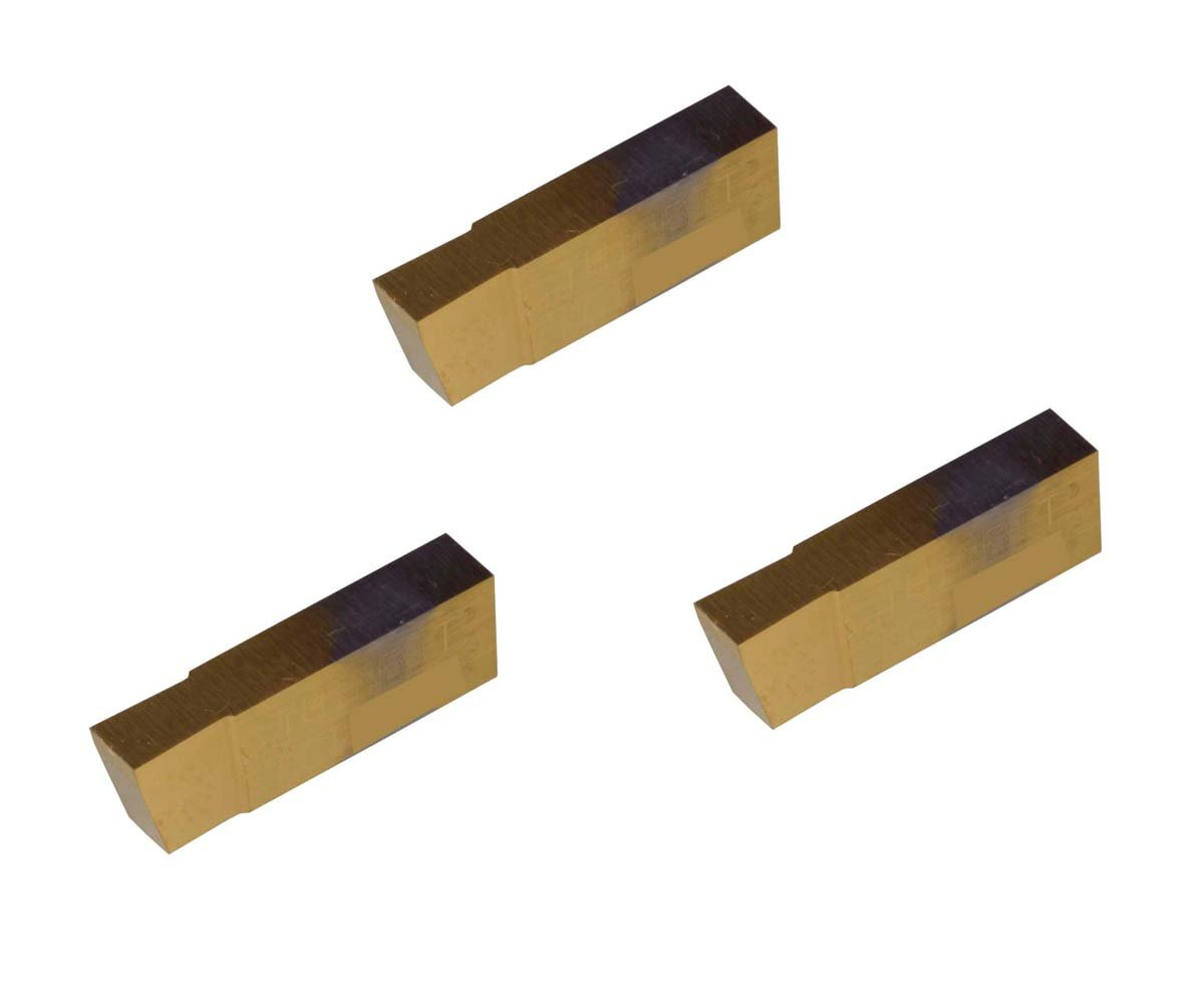 Grooving Insert for Steel TiN Coated Carbide THINBIT 3 Pack LGI098D2C 0.098 Width 0.147 Depth Cast Iron and Stainless Steel with Interrupted Cuts Sharp Corner