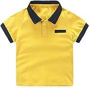 LittleSpring Little Kids Polo Shirt Short Sleeve Summer Holiday