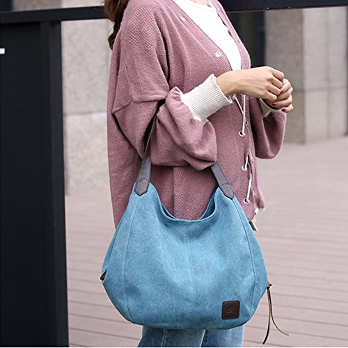 ZOMUSA Tote Pocket Canvas Bag Casual Handbags Single Bags Clearance Women's Multi Shopping Sale Messenger Blue Shoulder 4nHSxS