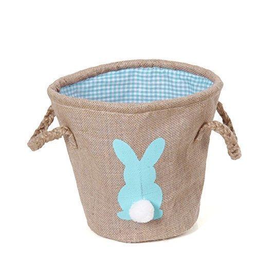 Easter basket, burlap bunny basket for easter(blue) - Fabric Easter Basket