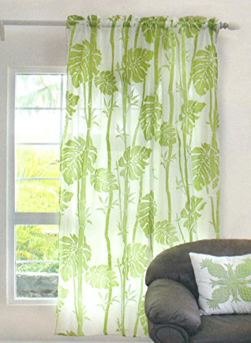 Hawaiian tropical Floral Window treatment curtain drape One sheer Panel 56 x 60 green
