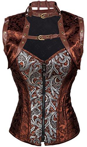 Alivila.Y Fashion Womens Steampunk Steel Boned Corset C208-Coffee-XL