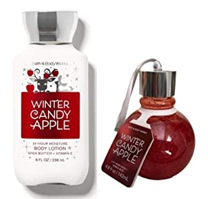 Bath and Body Works WINTER CANDY APPLE Duo Gift Set - Body lotion and 2 in 1 Body Wash & Bubble Bath Ornament - Full Size