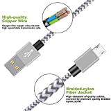 Micro USB Cable,Binguowang Nylon Braided Android Charger Cord Fast Charging Sync Cable for Samsung,Galaxy Tablet,HTC,LG,Nokia,Motorola, Android Smart phones and More. (Silver+Gray 1Pack 6FT)