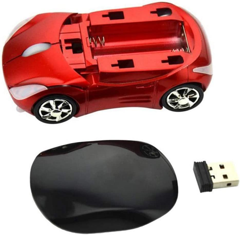 Color : Red ZSLLO Wireless Mouse 2.4Ghz Car Shape Wireless Optical Mouse USB Gaming Mice with Receiver for PC Laptop