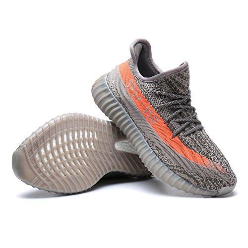 Mode Sport Chaussures Hommes en Plein Air Couple Boost 350 V2 Chaussures de Course Respirant Maille Chaussures de Sport Gris / Orange U666o57I