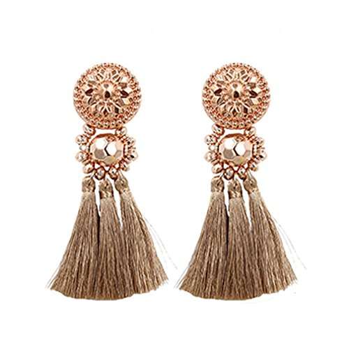 Design Gold/Silver/Rose Gold/Multi Colors Drop Earrings Bohemia Plastic Beads With Tassel Earrings For Women Rose Gold Brown Multi Colored Earrings