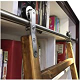 DIYHD SLD-10FT Sliding Hardware Rolling Library Kit(No Ladder), 10ft, Stainless Steel