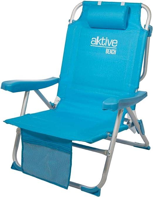 Aktive 53983 Silla mochila plegable aluminio para la playa. 5 ...