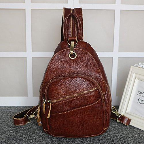 メンズバッグ、レジャーカトルレザー、シンプルな小さなバックパック、多機能財布、デュアルユース女性汎用。  ブラウン B0774XG4YC