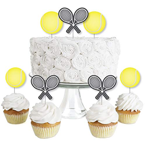 Ball Topper - You Got Served - Tennis - Dessert Cupcake Toppers - Baby Shower or Tennis Ball Birthday Party Clear Treat Picks - Set of 24
