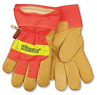 Kinco 1938-L-1 Grain pigskin, Hi-Vis orange, 3M Scotchlite reflective knuckle, Lined safety cuff, Heatkeep thermal lining, Size: L