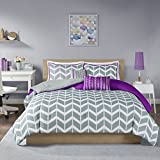 Purple and White Bedding Sets Intelligent Design ID10-621 Nadia Comforter Set Twin XL Purple, X-Large