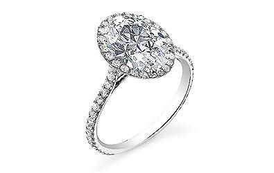 Amazon.com: Diamante PAVE anillo de compromiso de diamante ...