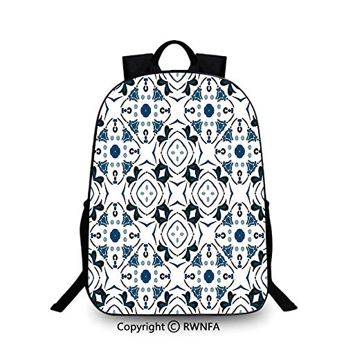 - School Backpack,Decorative Petals and Octagon Forms Royal Victorian Figures Travel College School Bags Blue Black White