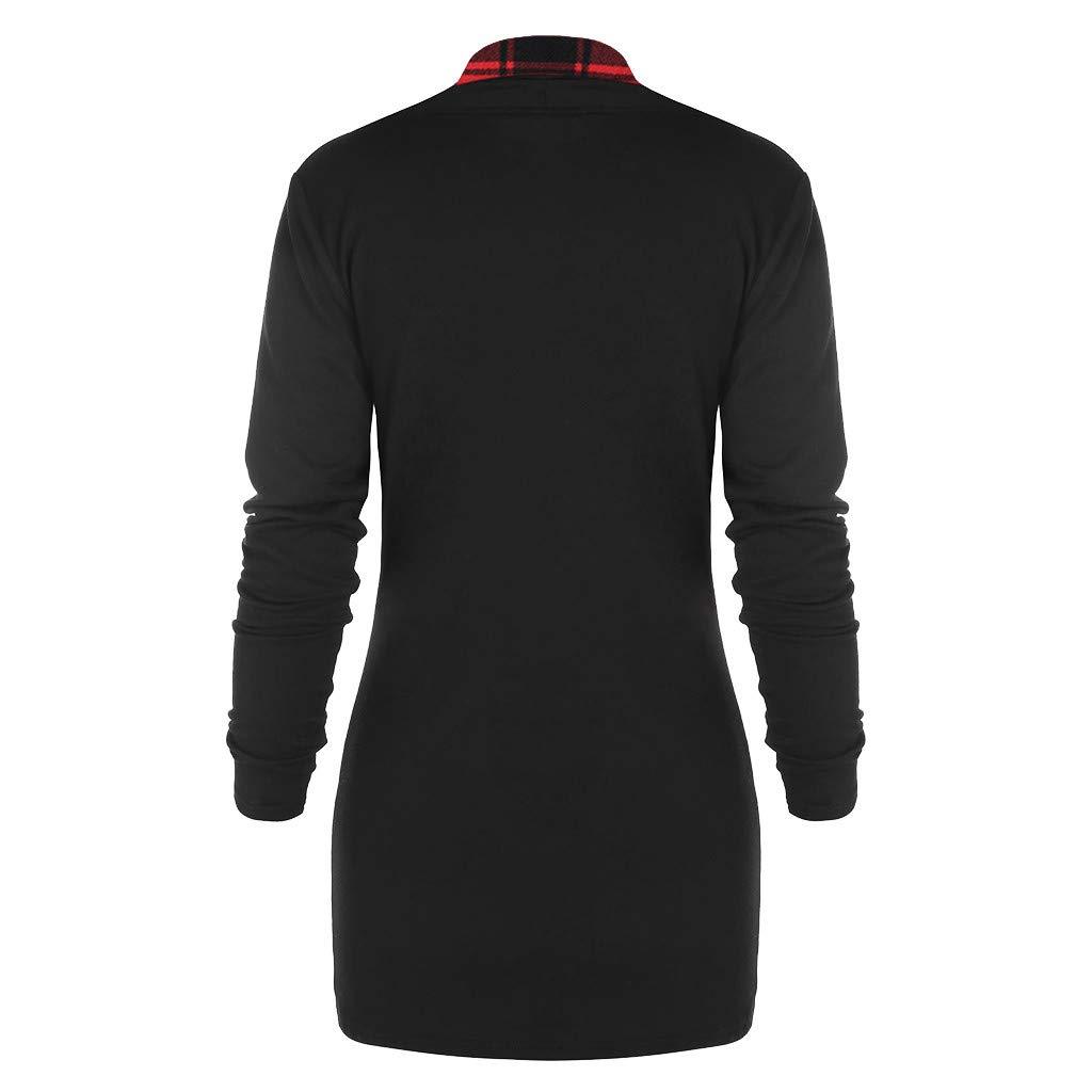 Spring Blouse Women Long Sleeve Plaid Turtleneck Tartan Tunic Sweatshirt