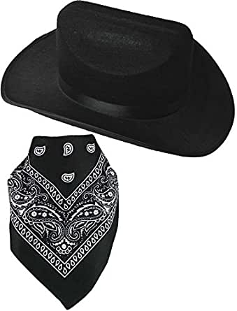 Quality Child Cowboy Costume Hat WithFREE Cotton Paisley Bandanna - Child Black Cowgirl Hat with Cotton Black Paisley Bandana