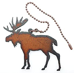 Moose Fan Pull Made From Iron 8 Inch Chain Attached to a 3.5 Inch By 2.5 Inch Moose