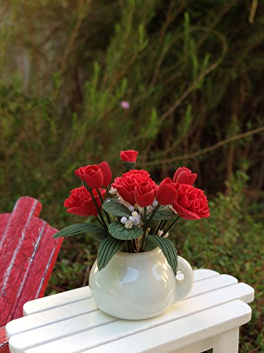 (Miniature Dollhouse Fairy Garden Red Rose Flowers & Carnations In White Pot)
