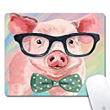 Mouse Pad with Stitched Edges,Watercolor Cute Pig Customized Design Extended Gaming Mouse Pad Anti-Slip Rubber Base Ergonomic Mouse Pad for Computer -Black Rectangle