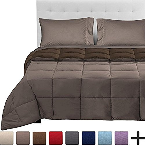 Bare Home 4-Piece Reversible Bed-In-A-Bag - Twin (Comforter: Cocoa/Taupe, Sheet Set: Taupe) Bunk Bed Bedding Sets