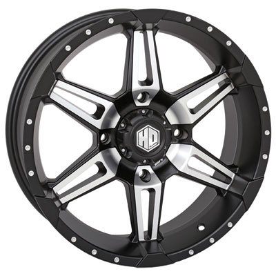 4/110 STI HD7 Alloy Wheel 14x7 5.0 + 2.0 Matte Black/Machined for Honda Rancher 420 2x4 2007-2018 ()