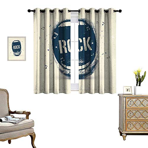 atterned Drape for Glass Door Screaming Mouth Musical Elements Flying Notes Rock Music Abstract Pattern Waterproof Window Curtain Beige Violet Blue ()