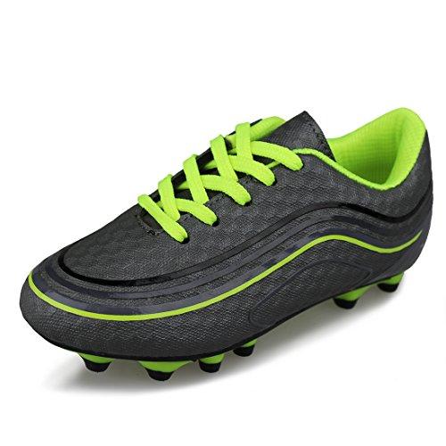 Hawkwell Comfortable Soccer Shoes(Toddler/Little Kid/Big Kid),Grey Green PU,11 M US