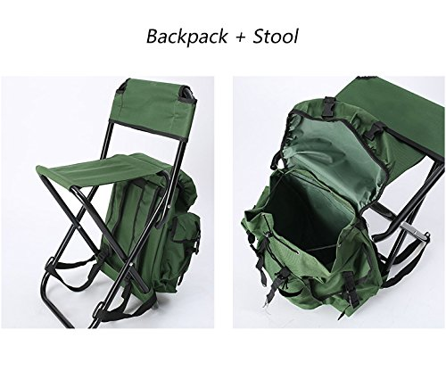 Folding Stool Camping Chair Backpack Insulated Picnic Bag Multifunction Portable Ultralight Padded Shoulder Strap Hiking Gear Outdoor Fishing Travel Beach BBQ