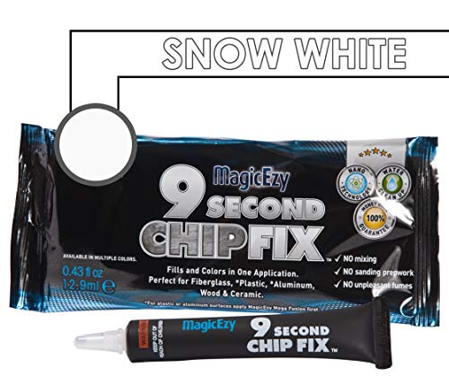 Black China Marble - MagicEzy 9 Second Chip Fix (Snow White) - Fills And Colors Deep Damage Fast - Epoxy Fiberglass Filler
