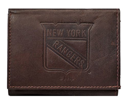 Rico New York NY Rangers NHL Embossed Logo Dark Brown Leather Trifold Wallet