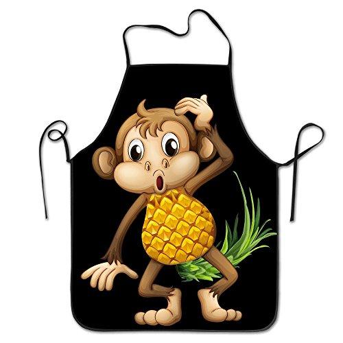 (Monkey Pineapple Emoji Cooking Apron Kitchen Apron Bib Aprons Chief Apron Home Easy Care For Men Women)
