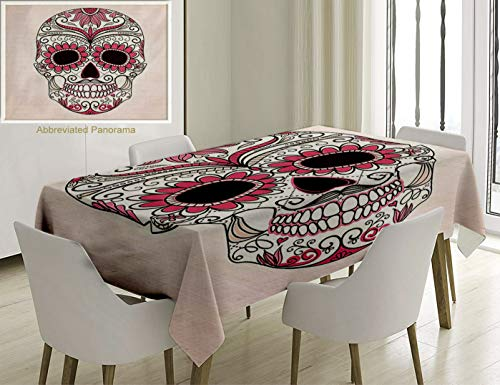 - Unique Custom Cotton and Linen Blend Tablecloth Sugar Skull Decor Mexican Ornaments Calavera Catrina Inspired Folk Art Macabre Pink Light Pink WhiteTablecovers for Rectangle Tables, 86 x 55 inches