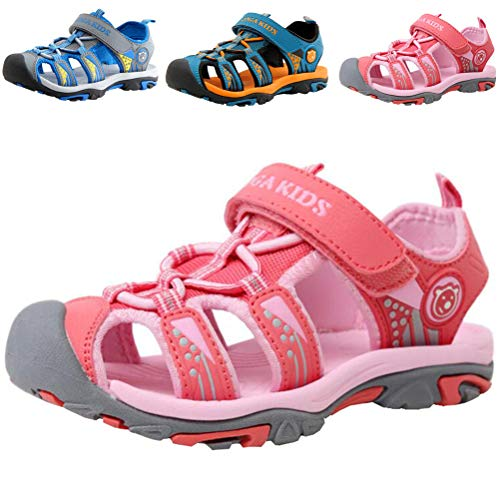 DADAWEN Boy's Girl's Summer Beach Outdoor Closed-Toe Sport Sandals (Toddler/Little Kid/Big Kid) Pink US Size 6 M Big Kid
