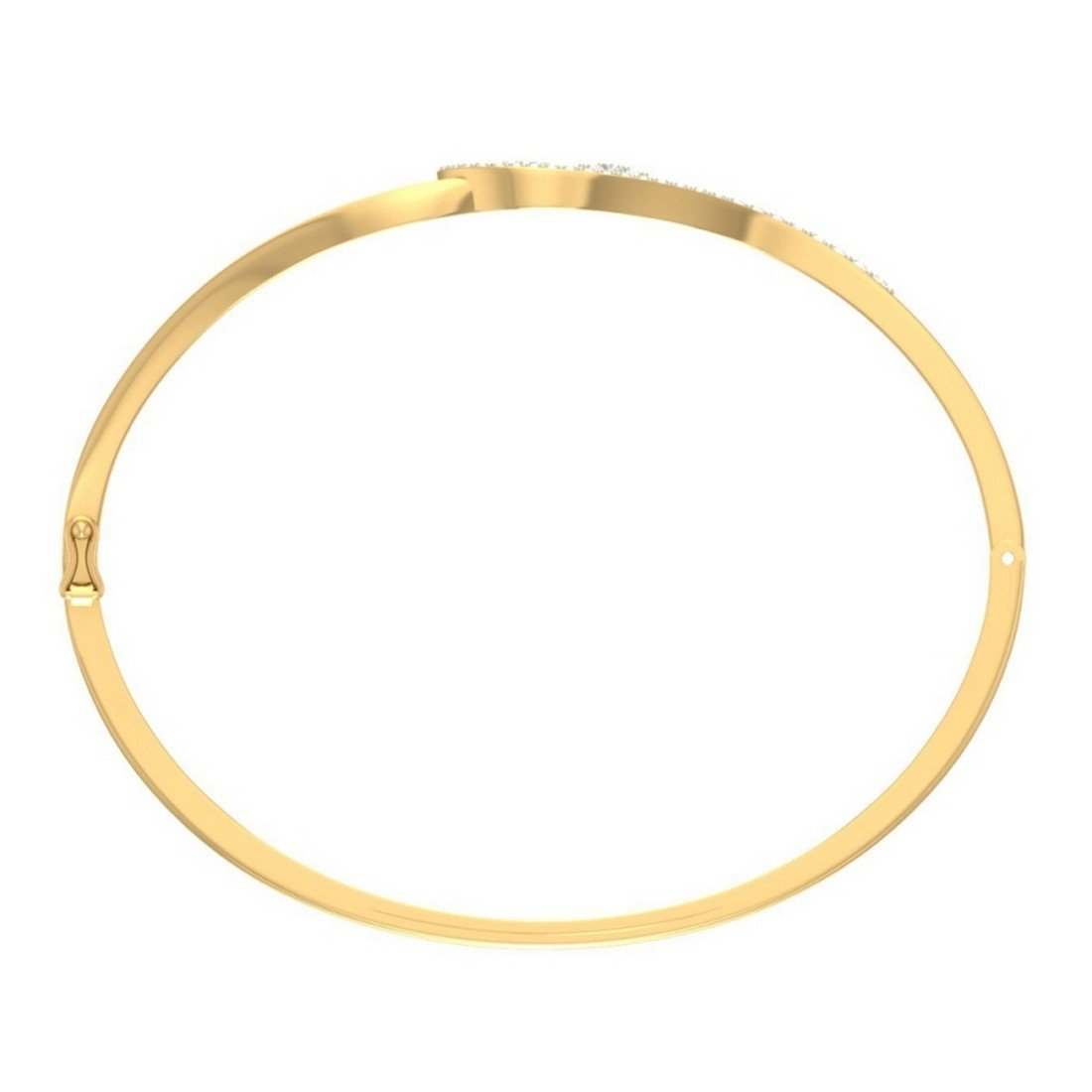 bangle-bracelets Size 0.29 cttw Round-Cut-Diamond 18K Yellow Gold 10 inches IJ| SI