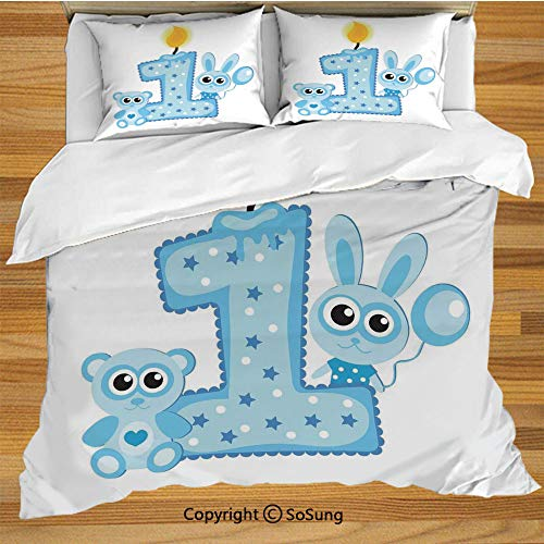 SoSung 1st Birthday Decorations King Size Bedding Duvet Cover Set,Boys Party Theme with a Cake Candle Rabbit and Bear Decorative 3 Piece Bedding Set with 2 Pillow Shams,Baby Blue and -