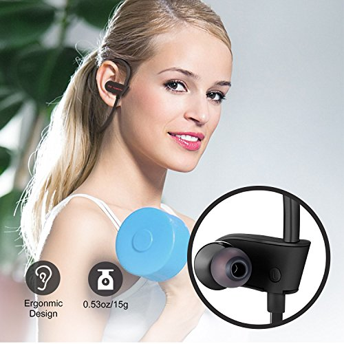 Bluetooth Headphones Wireless Earbuds Sport In-Ear IPX7 Sweatproof Earphones with Mic Super sound quality Bluetooth 4.1 ,8 Hours Play Time, Noise Cancelling Headsets Secure Fit Design Black Photo #6