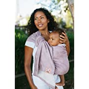 Baby Tula 100% Cotton Ring Sling Baby Carrier, Ergonomic, Adjustable, Front and Hip Carry for 8 – 35 pounds – Keene Rose (Light Pink Floral), L/XL