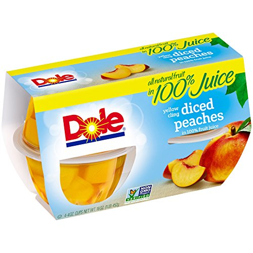 Large Product Image of Dole Fruit Bowls, Diced Peaches in 100% Fruit Juice, 4 Ounce (4 Cups), All Natural Diced Peaches Packed in Fruit Juice, Naturally Gluten Free, Non-GMO, No Artificial Sweeteners