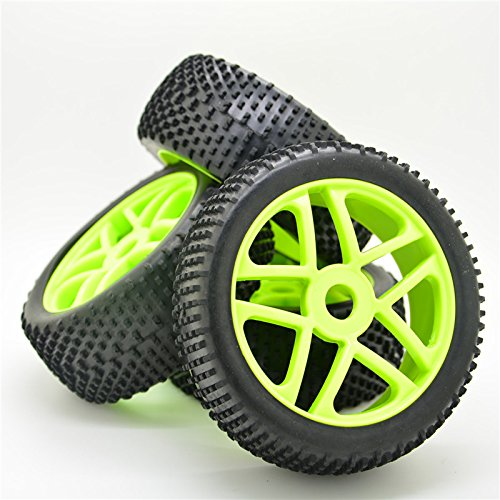 1/8 Off Road Buggy - Green RC 1:8 Off-Road Rubber Tyre Tires & Plactic Wheel Rim 4pcs for HSP Buggy Car
