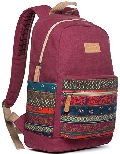 Kinmac Wine-Bohemian Waterproof Laptop Backpack with Massage Cushion Straps and USB Charging Port for Laptop up to 15.6 Inch Macbook Pro 15 Men Women Student Travel Outdoor Backpack