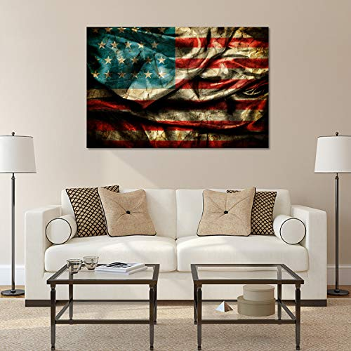 American Flag Canvas Wall Art - Ready to Hang - Home Office Decor Picture Prints for Living Room, Bedroom - 45