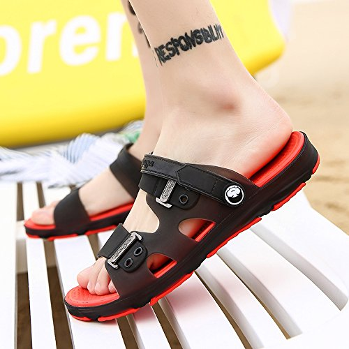 fankou Summer Sandals Men's Sandals Cleat Men's Outdoor Plastic Wear Cool Summer Bath Slippers Beach Shoes, Black and Red,39