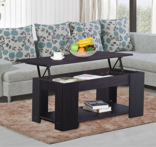 New Espresso, Modern Wood Lift Top Coffee / End Table with Storage Space Living Room Furniture - French Country Computer Armoire