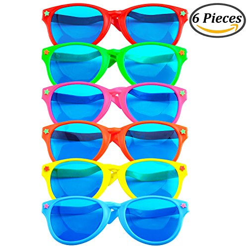 Coobey 6 Pieces Jumbo Plastic Sunglasses Colorful Jumbo Glasses for Costumes Hawaiian Beach Party (Hawaiian Party Costume)