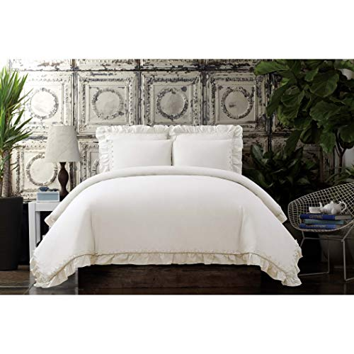 Cottage Classics Washed Cotton Voile Ruffle King Duvet Cover Set, White