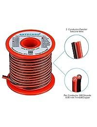 2 Conductor paralelo alambre de silicona flexible de calibre 20 Bobina rojo negro de alta resistente al 200 oC 600 V para tira de LED de un solo color Cable de extensión modelo alambre de plomo alambre de 50 ft de cobre trenzado BNTECHGO