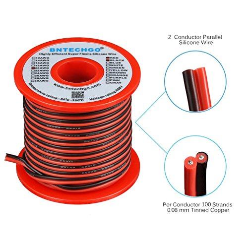 (BNTECHGO 20 Gauge Flexible 2 Conductor Parallel Silicone Wire Spool Red Black High Resistant 200 deg C 600V for Single Color LED Strip Extension Cable Cord,Model,Lead Wire 50ft Stranded Copper Wire)