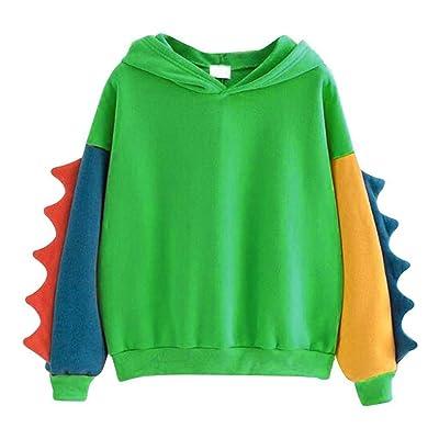 Meikosks Women's Dinosaur Sweatshirt Long Sleeve Splice Tops Casual Cartoon Hoodies Pullover: Clothing
