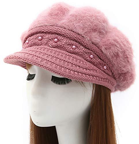 (Epsion Women Winter Knit Crochet Newsboy Caps Lady Warm Pearl Knit Beanie Hat)